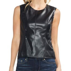 Vince Camuto faux leather sleeveless shell